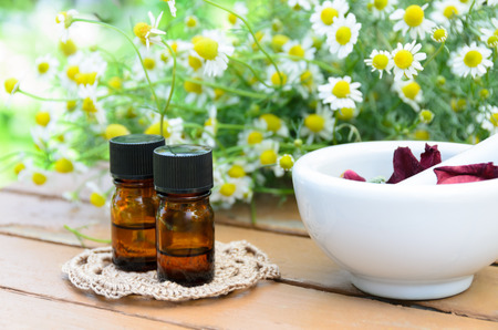essential oils with chamomile for aromatherapy treatment