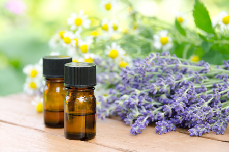 essential oils with lavender and chamomile 스톡 콘텐츠