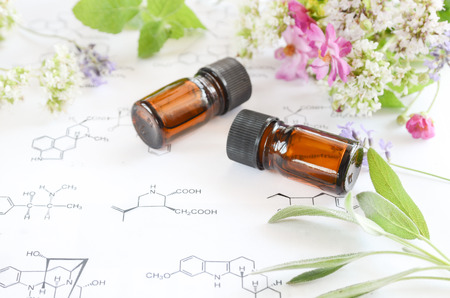 essential oils on science sheet
