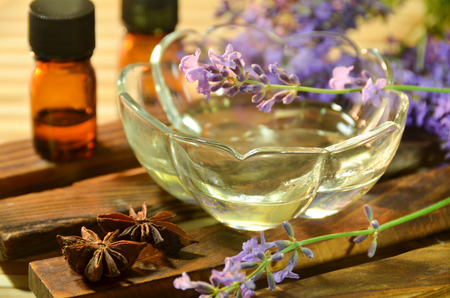 brown: lavender oil for aromatherapy treatment