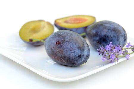 prune: fresh prune  in white background