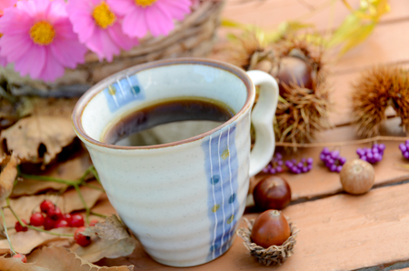 autumn arrangement: coffee in autumn arrangement Stock Photo