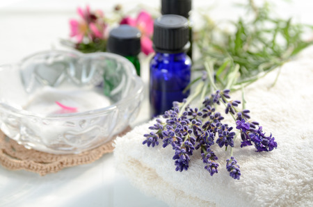 spa flower: skin care with aromatherapy oils and herbs Stock Photo