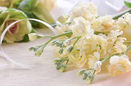 arrangment: white stock flowers