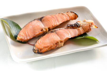 pink salmon: grilled salmon on white background