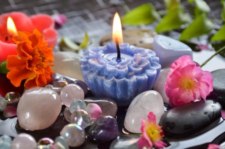 gemstones: candle with gemstones