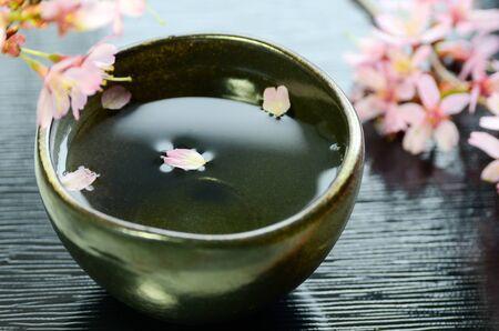 cherry blossom and Japanese rice wine Archivio Fotografico