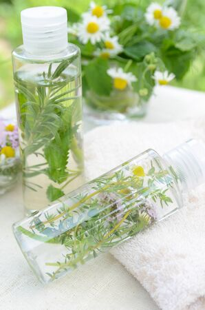 natural beauty: natural cosmetics with herbs Stock Photo