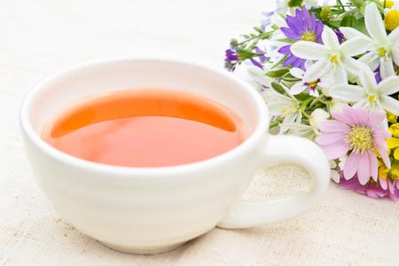 tea break: tea break with garden flowers