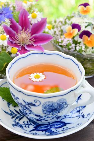 tea with garden flowers