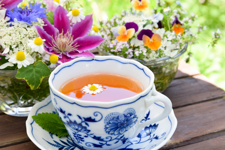 flowers garden: tea with garden flowers