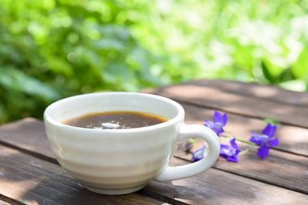 coffee break in garden Standard-Bild