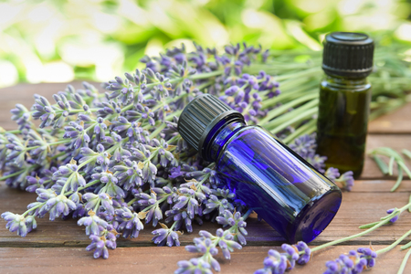 essential oils with lavender in garden spa