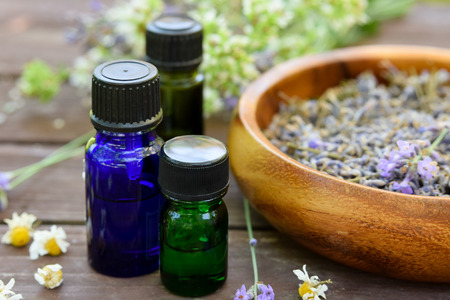 essential oils with lavender and herbs Standard-Bild