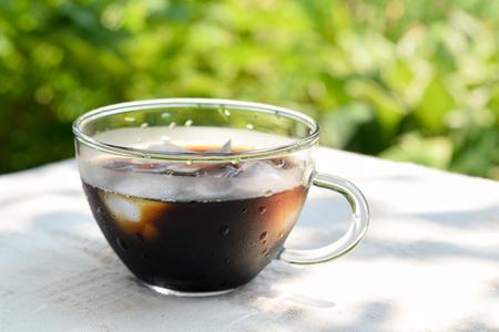 iced coffee: iced coffee in garden