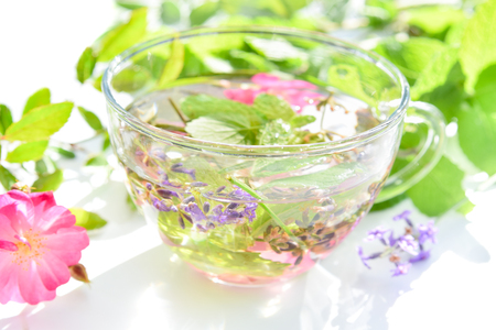 herbal tea with mint and rose