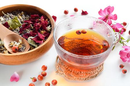 Tee aus Hagebutten in weißem Hintergrund Standard-Bild