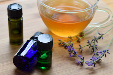 essential oils with tea and lavender