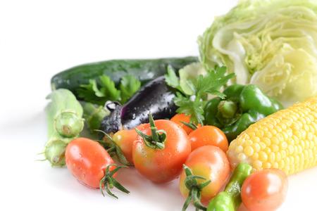 fresh organic vegetables in white background Standard-Bild