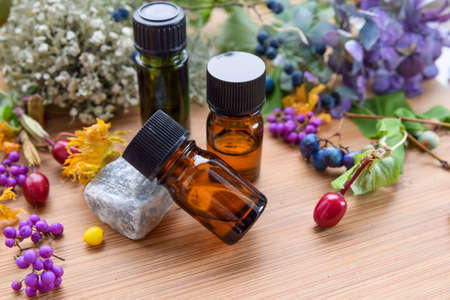 essential oils for aromatherapy treatment with wild seeds and berries