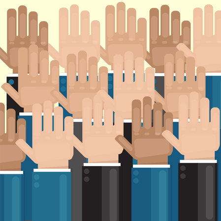 Vote. Hands are raised. Elections or greetings. Hands of different colors.
