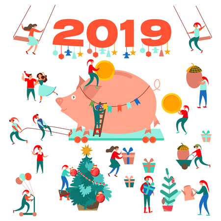 Happy New Year. 2019. Symbol of the Year of the Piglet. Pig. Decorating the Christmas tree. Little men. Gnomes. Christmas tree and gifts. Elves are carrying a pig. Festive postcard. Christmas background. Иллюстрация