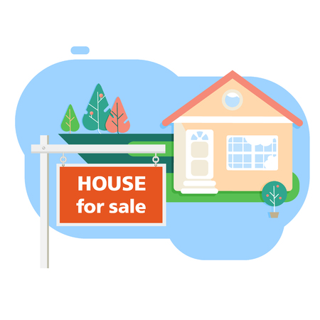House for sale. The plot is for sale. A loan to buy a house. The house is located on a clearing. Pool and trees. Offer, advertisement or banner. Isolated vector image flat. Иллюстрация