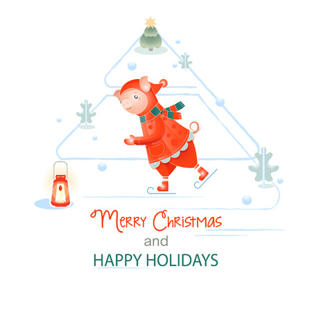 new Year. holiday christmas. winter holidays. Piglet symbol of the year 2019. Pig skates in Santa Claus costume. template postcard or banner