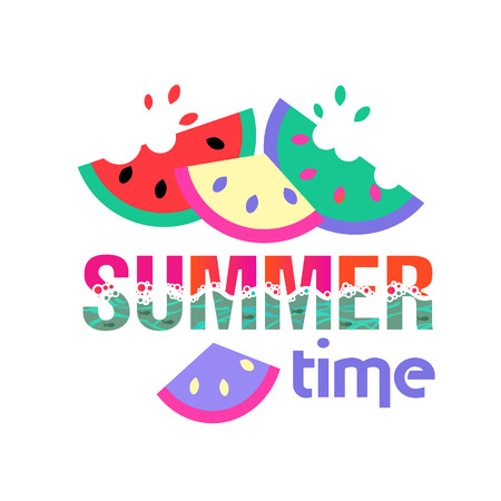 Summer time. Logo or summer slogan. Watermelons and the sea. Postcard or fabric