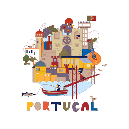 Portugal. Map of attractions of Lisbon. Historical and cultural. Tourism, travel Illustration