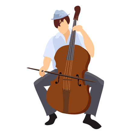 musician. the guy is playing the cello. jazz music. plucked tool. cello. live solo concert