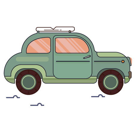 An image of a car in cartoon style. By car, go on a trip. Vector Image. By car on a trip. Suitcases by car. Vintage picture. Linear style. Bright and colorful drawing Ilustrace