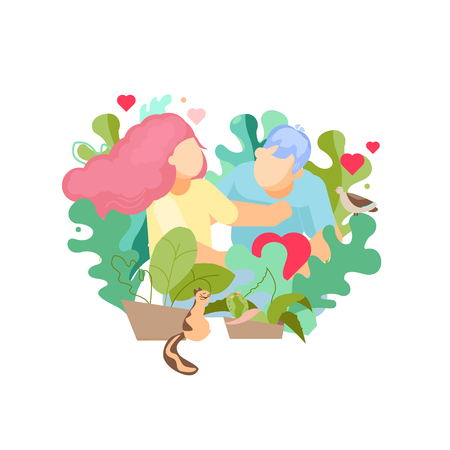 Valentines day sweet card vector flat design illustration. The girl and the young man give each other love. Concept of growing love 일러스트