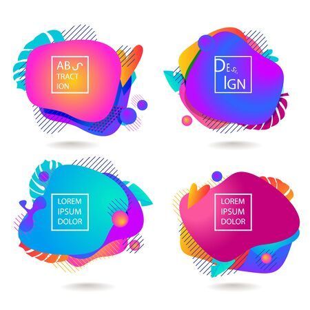 Fluid color badges set. Abstract shapes composition. Eps10 vector.