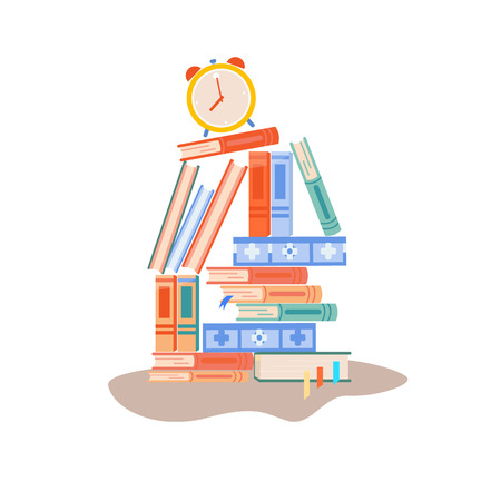 A stack of books. Many books lie on top of each other. back to school. student's workplace. shelf with books. school supplies. office and office equipment. illustration on the topic of study Illustration