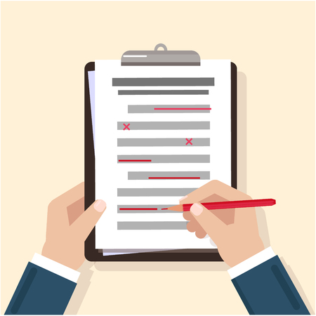 Hands on the table. Filling the checklist. Additions and improvements of the article. Correction of the text. Proofreading in pencil. Amendment to the text. Vector image. The icon of the hand write Illustration