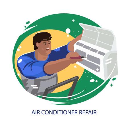 Reparación de aires acondicionados. Mantenimiento e instalación de sistemas de refrigeración. Vector de reparación de aire acondicionado profesional. Hombre electricista instalación de aire acondicionado. Vector ilustración plana