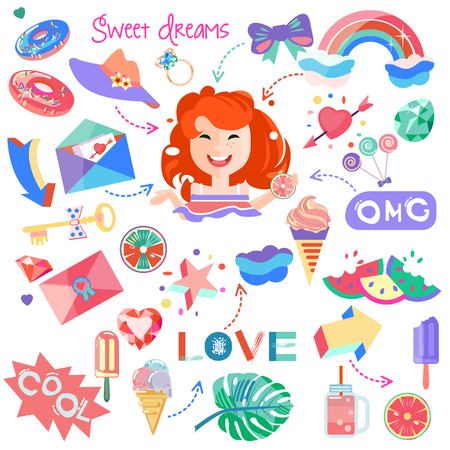 Stickers. Set of pictures for girls. Beautiful pictures on the theme of vacation holiday, school, girlfriends. Diamonds and crystals. Rainbow, a cloud. Accessories. For postcards, posters