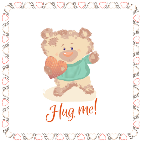 Postcard with a bear cub. A small bear is a toy. Valentine's Day is a holiday letter. Heart and bear cartoon and cute images, imitation stitched from cloth toys. Vector picture Archivio Fotografico - 124097595