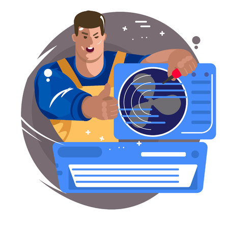 Repair of air conditioners. Maintenance and installation of cooling systems. Professional Air Conditioner Repair Vector. Man Electrician Installing Air Conditioner. Vector flat Illustration Illustration