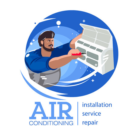 Repair of air conditioners. Maintenance and installation of cooling systems. Professional Air Conditioner Repair Vector. Man Electrician Installing Air Conditioner. Vector flat Illustration Standard-Bild - 120624291