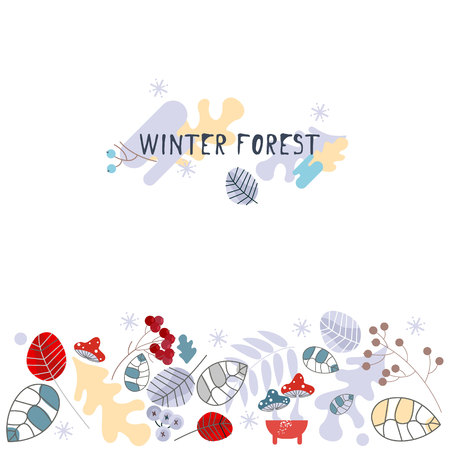Set of Winter pattern. Decorating winter plant pictures. Vector