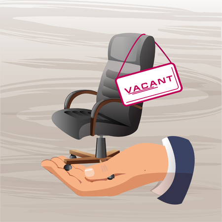 Vector illustration of an office chair. Office chair and sign vacant. Business recruitment and recruitment of an abstract concept. Fashionable stylish chair. Job or employee search