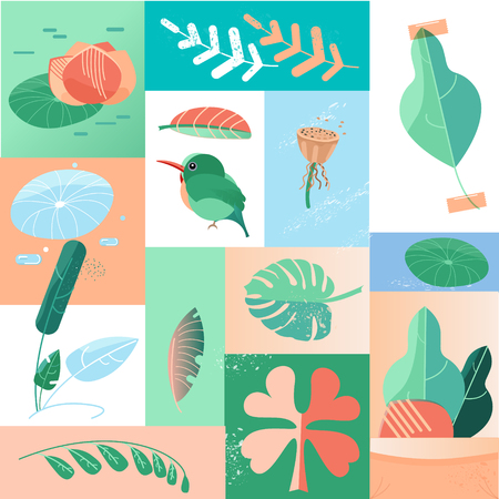 summer tropical day icons collage. concept flat design style vector graphic Illustration