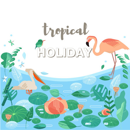 Vector illustration. Flamingos, pelicans and exotic birds. Stylized aquatic plants. Lake or river. A tropical forest, a jungle. Rest in the tropics. Summer has come. Palma, monstera leaves Ilustrace