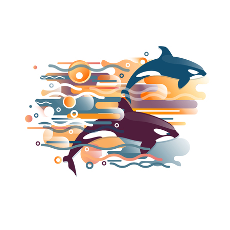 Vector image of orca, killer whale and sea fauna. A vivid abstraction of the pattern for the design of a print, fabric or magazine, landscape panel. Title or cover. Gradient, stripes, ovals and waves