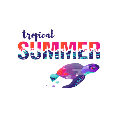 Vector image of turtle. A vivid abstract. Lettering the phrase tropical summer. Title or cover. Gradient and modern ultraviolet. Symbol, icon or sign. Summer picture theme