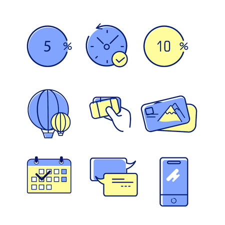 A set of 9 editable bank icons. Includes symbols such as discount, limited offer