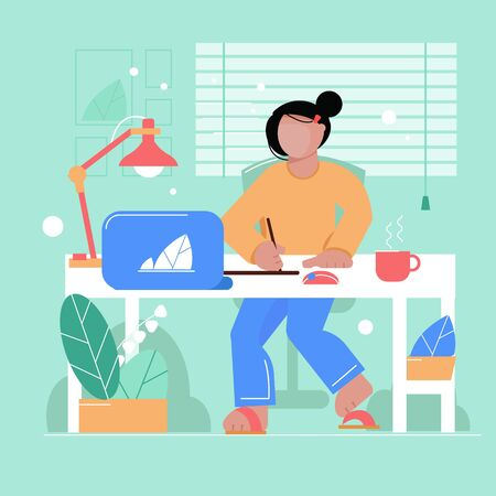 Woman draws on the tablet, works on computer. colorful. Flat style illustration