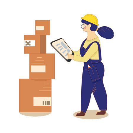 Una mujer en el almacén está trabajando con una tableta. Embalaje de cajas sobre racks. Depósito